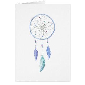 Cartão Watercolour Dreamcatcher com 3 penas