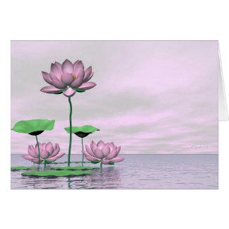 Cartão Waterlilies e flores de lótus cor-de-rosa - 3D