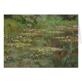 Cartão Waterlilies ou a lagoa Nympheas do lírio de água
