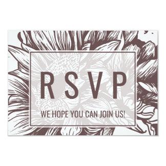 Cartão Web site rústico RSVP do casamento do girassol