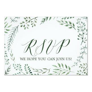 Cartão Web site rústico verde RSVP do casamento da