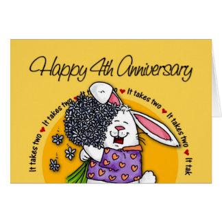 Cartão Wedding - 4o aniversário feliz