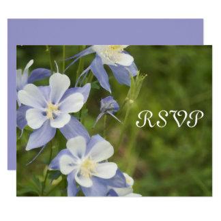 Cartão Wedding aquilégia azul da resposta de RSVP
