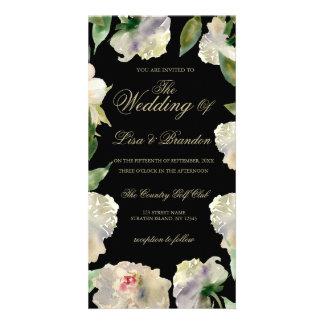 Cartão Wedding branco do convite da peônia |