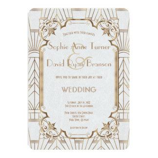 Cartão Wedding chique do art deco de Gatsby do ouro