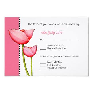 Cartão Wedding cor-de-rosa das flores simples RSVP Convite 8.89 X 12.7cm