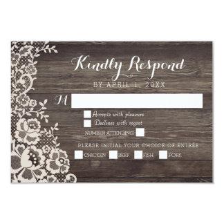 Cartão Wedding de madeira da resposta do laço RSVP