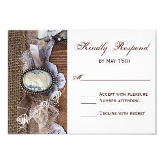 Cartão Wedding de madeira de serapilheira RSVP da Convite 8.89 X 12.7cm