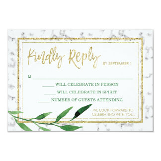 Golden Marble Wedding RSVP Card, Greenery
