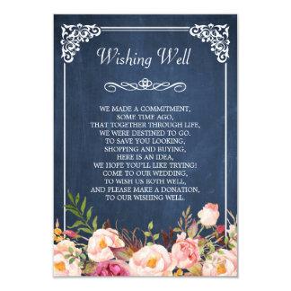 Cartão Wedding desejando o rosa azul bom do quadro floral