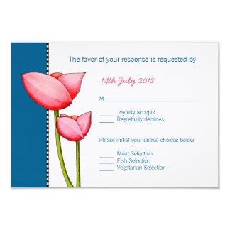 Cartão Wedding do azul 2 simples RSVP das flores Convite 8.89 X 12.7cm