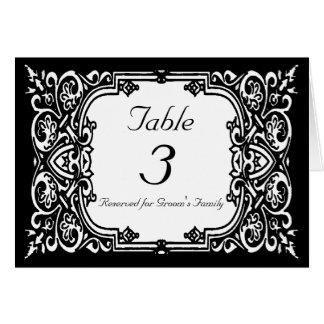 Cartão Wedding do número da mesa