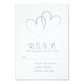 Cartão Wedding entrelaçado corações de dois RSVP Convite 8.89 X 12.7cm