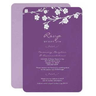 Cartão Wedding floral branco da recepção de RSVP Convite 8.89 X 12.7cm
