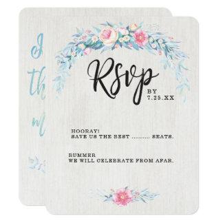 Cartão Wedding floral da aguarela RSVP de Boho
