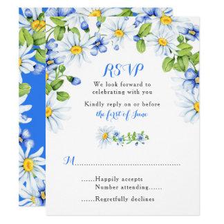 Cartão Wedding floral da margarida amarela branca