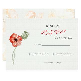 Cartão wedding floral das papoilas vermelhas convite 8.89 x 12.7cm