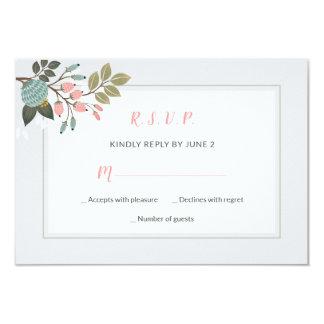 Cartão Wedding floral Pastel elegante de RSVP