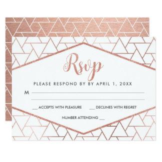 Cartão Wedding geométrico da resposta do ouro