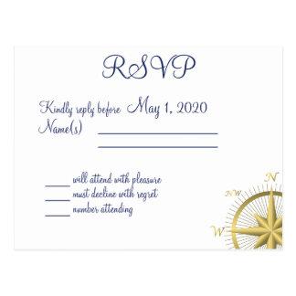Cartão Wedding náuticos brancos de RSVP Cartão Postal