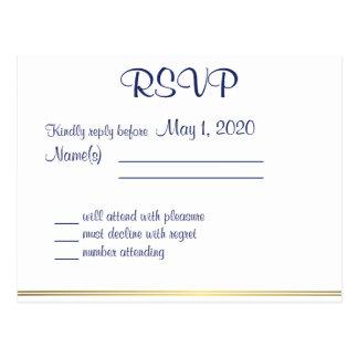 Cartão Wedding náuticos brancos de RSVP Cartoes Postais
