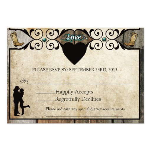 Cartão Wedding ocidental do país rústico RSVP Convite Personalizados