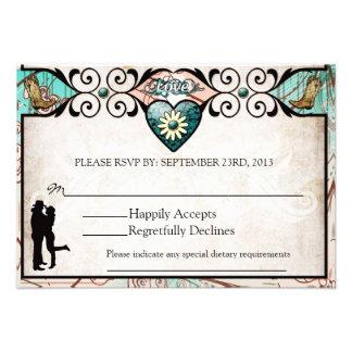 Cartão Wedding ocidental do país rústico RSVP Convites Personalizado