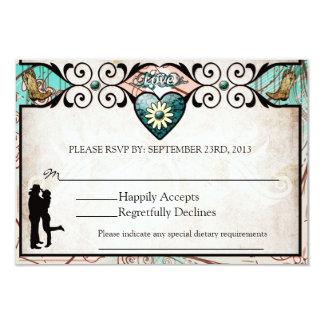 Cartão Wedding ocidental do país rústico RSVP Convite 8.89 X 12.7cm