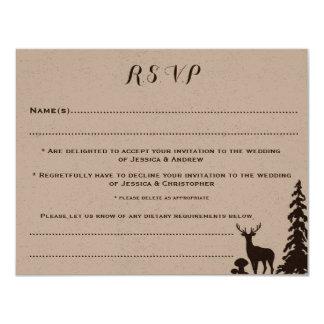 Cartão Wedding personalizado Kraft de Brown RSVP