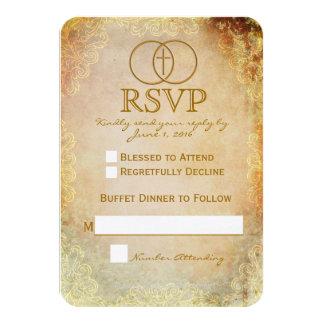 Cartão Wedding religioso transversal cercado 2 de Convite 8.89 X 12.7cm