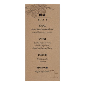 Cartão Wedding rústico da cremalheira do menu de 10.16 X 22.86cm Panfleto