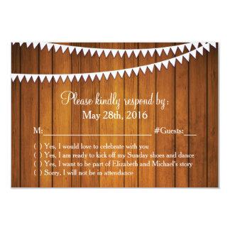 Cartão Wedding rústico da resposta de RSVP Convite 8.89 X 12.7cm