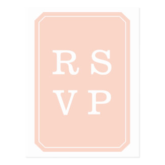 Cartão Wedding simplesmente elegante do coral RSVP Cartão Postal