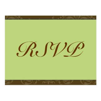 Cartão Wedding verde de RSVP Cartão Postal