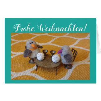 Cartão Weihnachstkarte com par doce de pinguim