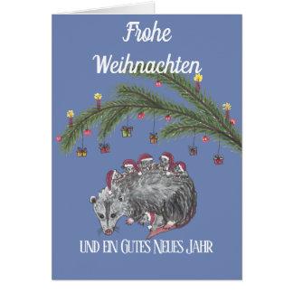 Cartão Weihnachstkarte com uma família Opossum