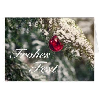 Cartão Weihnachtsmotiv com as palavras 'Fest' Alegres