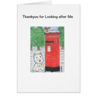Cartão Westie Dogsitting Thankyou para ocupar de me