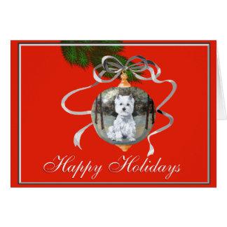Cartão Westie em um ornamento do feriado