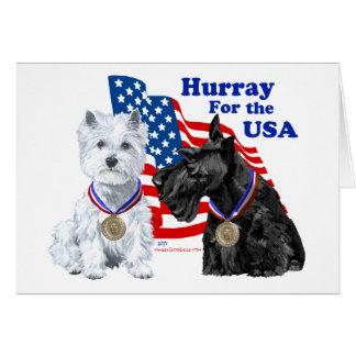 Cartão Westie & Scottie Hooray para EUA
