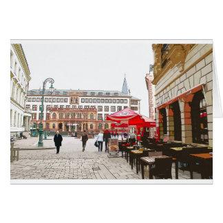 Cartão Wiesbaden, praça do mercado, câmara municipal -