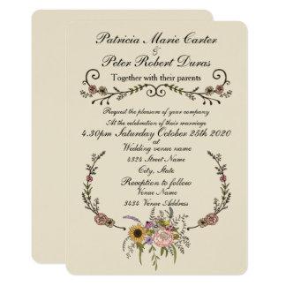 """Cartão Wildflower elegante que Wedding Invitation.5"""" x 7"""""""