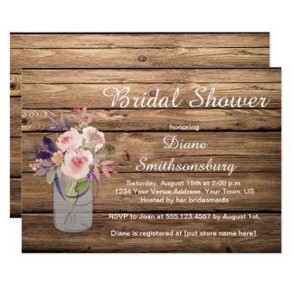 Cartão Wildflowers cor-de-rosa Barnwood da lavanda do