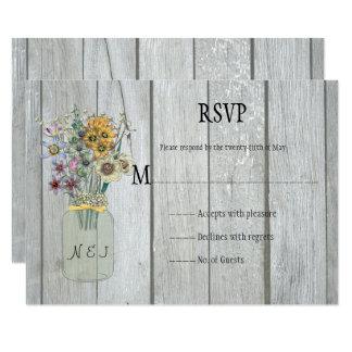 Cartão Wildflowers de madeira RSVP do frasco de pedreiro