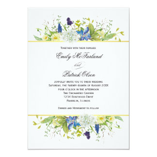 Cartão Wildflowers rústicos do jardim secreto que Wedding