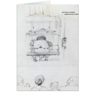 Cartão William Morris em seu tear, caricatura