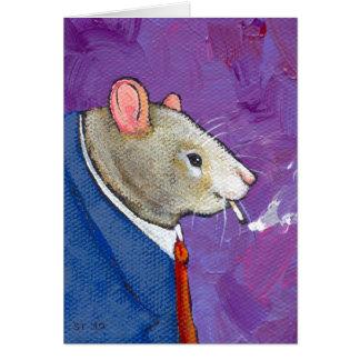 Cartão Willie o rato - pintura de fumo do homem de