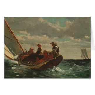 Cartão Winslow Homer que Breezing acima das belas artes