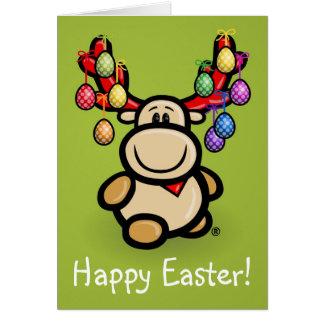 """Cartão With """"Happy Easter"""" cute Elmondo moose"""