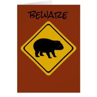 Cartão Wombat australiano do sinal de estrada